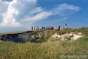 """Dzierżyńsk. Gubernia Niżny Nowogród. Lej nazywany przez ludzi """"Czarna dziura"""" pojawił się koło 30 lat temu."""