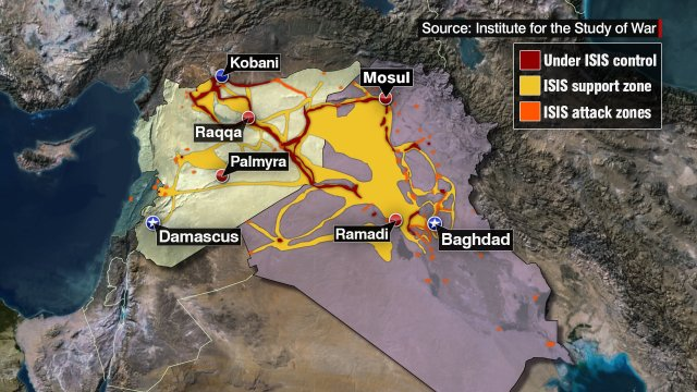 This map depicts the area of ISIS Control (red), support (yellow), and attack zones (orange) in Iraq and Syria. This map is current as of May 21, 2015.